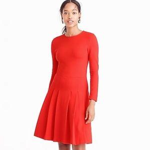 [J. Crew] Orange Long Sleeve Pleated Ponte Dress